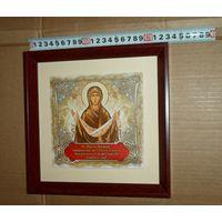 Икона Покрова Пресвятой Богородицы  23 см * 23 см  дерево керамика