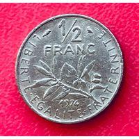 04-11 Франция, 1/2 франка 1974 г.