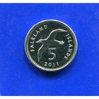 Фолклендские острова 5 пенсов 2011 UNC