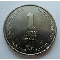 """Израиль 1 новый шекель 1986 """"Лилия"""" (Ханука снизу под номиналом) KM# 163"""