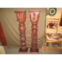 Консоли антикварные парные пристенки,красное дерево 19 век.