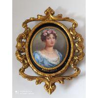 Портретная миниатюра. Marie Louise. Шедевр живопись на фарфоре .Франция 19 век