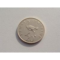 """Танзания. 20 сенти(центов) 1981 год  КМ#2  """"Страус"""""""