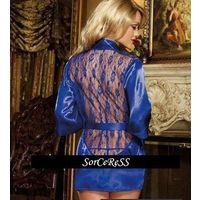 Сексуальный халатик с ажурной спинкой - синий