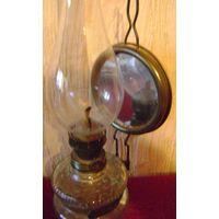 Лампа керосиновая с зеркалом.Старинная.На стол и стену.
