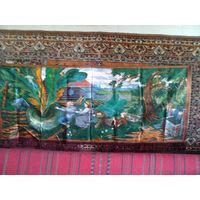 """Коврик СССР, прикроватный ковер с персонажами сказки """"Репка"""", советский, размеры 160 см х 64 см. С небольшими дефектами."""