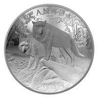 """Канада 100 долларов 2019г. """"Волки"""" Монета в капсуле; подарочной футляре; номерной сертификат; коробка. СЕРЕБРО 311,5гр.(10 oz)."""