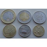 Марокко. Набор 6 монет 1,1/2,5,10,20 сантимов - 10 дирхамов 2012-2016 года