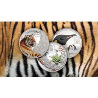"""Танзания 300 шиллингов 2016г. """"WWF"""". Монеты в капсулах; мешочках. Cu/посеребрение 3х25 гр."""