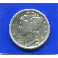 США 10 центов 1937 , серебро , Mercury Dime