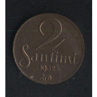 Латвия 2 сантима 1932 г. (*). Не плохие!!!