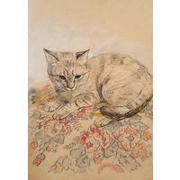 """""""Кошка"""" набросок цветными карандашами на тонированной бумаге А4"""