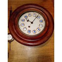 Часы настенные немецкие, маятник, эмаль. 19 век. рабочие.