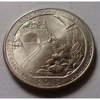 """25 центов, квотер США,  автомагистраль """"Блу (Блю) Ридж""""  (штат Северная Каролина), P  D"""