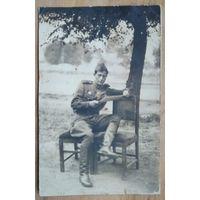Фото военного Изи - победителя японской Квантунской армии. Октябрь 1945 г. Манчжурия. Иудаика. 8х13 см..