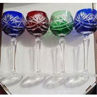 Bohemia crystal. 4 бокала. богемский цветной хрусталь, 19 см высота, 6.5см диаметр. 70-е.  недорого. ТОРГ