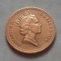 1 пенни, Великобритания 1990 г., AU