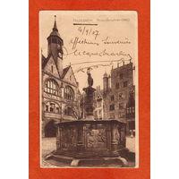 Хильдесхайм. Фонтан (марки, гашение, Германия, 1907)