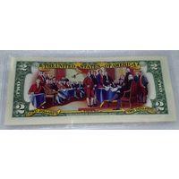 """2 доллара """"декларация независимости""""  - цветные, UNC"""