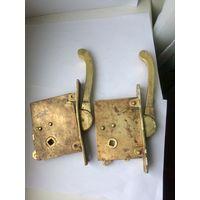 Старый дверной замок с ручкой Латунь/бронза Цена за 1