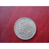 6 пенов 1967 год Великобритания
