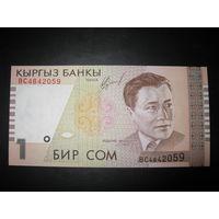 Киргизия. 1 сом образца 1999 года. UNC.