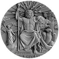 "RARE: Ниуэ 2 доллара 2016г. ""Римские боги: ""Юпитер"". Монета в капсуле; деревянном подарочном футляре; сертификат; коробка. СЕРЕБРО 62,27гр.(2 oz)."
