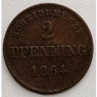 Бавария 2 пфенниг 1864