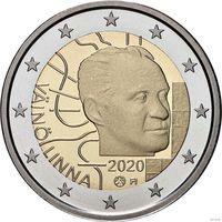 2 евро 2018 Финляндия 100 лет со дня рождения Вяйнё Линна UNC из ролла