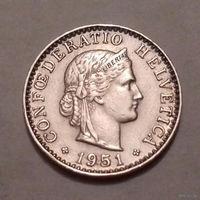 20 раппен, Швейцария 1951 г.