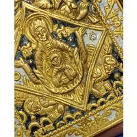 """Складень латунный с двумя эмалями """"Знамение"""", (с евангелическими знаками). СЕРЕДИНА 19 ВЕКА. ТОРГ"""
