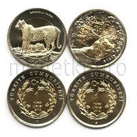 Турция 2 монеты 2012 года. Олень и леопард (красная книга Турции).