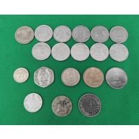 Индия, набор 19 монет, 20, 25, 50 пайс, 1, 2, 5 рупий. Разные года. пайсов, рупия