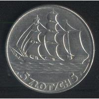 Польша 5 злотых 1936 г. Кораблик Редкие (*). Очень хорошие!!!