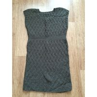 Платье вязаное темно серое