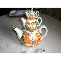 Редкий набор чайников Городница ГФЗ 1970-е СССР роспись золочение фарфор