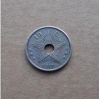 Бельгийское Конго, 10 сантимов 1911 г., медно-никель
