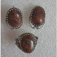 Гарнитур (серьги и кольцо) Петерсит, натуральный камень