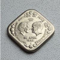 Нидерланды 5 центов, 1980 Беатрикс и Клаус - Королева и Принц Нидерландов /портреты лицом друг к другу 3-14-33