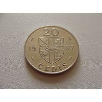 """Гана. 20 седи 1997 год KM#30 """"Каури раковина"""""""