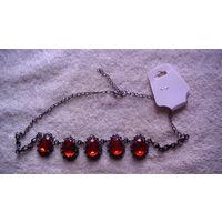 Калье с красными камнями. распродажа