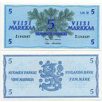 Финляндия. 5 марок (образца 1963 года, P106A, UNC)