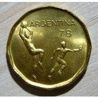 Аргентина 20 песос 1977 г. ЧМ по футболу 1978 г. UNC.