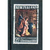 Новая Зеландия.Ми-509.Рождество. Живопись. Картина Фредерико Фиори - Рождение Христа. 1969