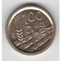 Испания 100 песет 1995 года. ФАО. Тип со гуртом 2 (см. фото). Cостояние UNC-!