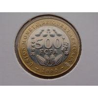 Западная Африка. 500 франков 2005 год. Би-металл. КМ#15