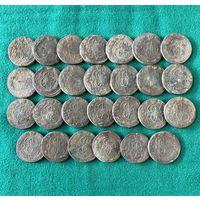 Крепкие хорошие пятаки Екатерины II, 27шт. с 1 рубля
