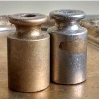 Гири, Европа, бронза, 2 шт., гирьки к весам аптечные торговые, латунь, клейма