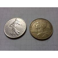 Франция 1 франк 1977 + 20 сантимов 1973 одним лотом