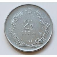 Турция, 2 1/2 лиры 1968 год, -редкий год-